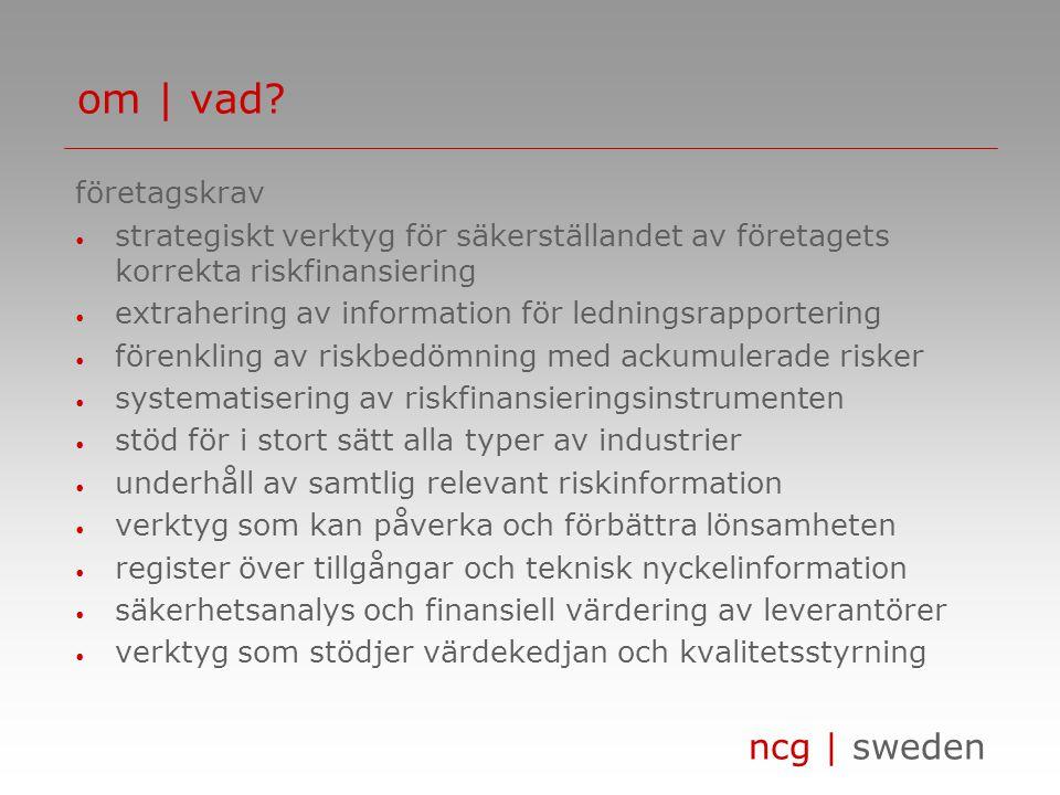ncg | sweden företagskrav strategiskt verktyg för säkerställandet av företagets korrekta riskfinansiering extrahering av information för ledningsrapportering förenkling av riskbedömning med ackumulerade risker systematisering av riskfinansieringsinstrumenten stöd för i stort sätt alla typer av industrier underhåll av samtlig relevant riskinformation verktyg som kan påverka och förbättra lönsamheten register över tillgångar och teknisk nyckelinformation säkerhetsanalys och finansiell värdering av leverantörer verktyg som stödjer värdekedjan och kvalitetsstyrning om | vad?