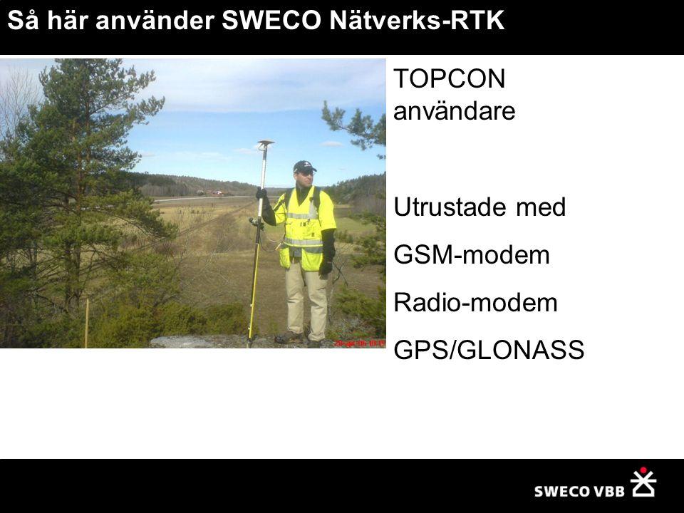 TOPCON användare Utrustade med GSM-modem Radio-modem GPS/GLONASS Så här använder SWECO Nätverks-RTK