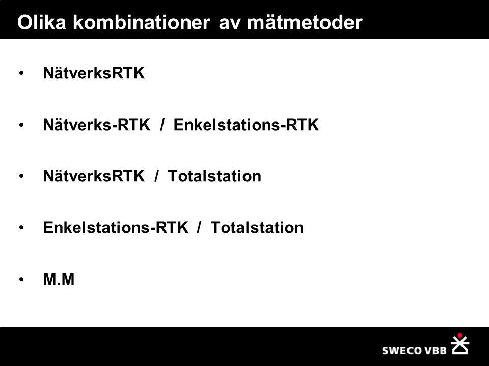 Olika kombinationer av mätmetoder NätverksRTK Nätverks-RTK / Enkelstations-RTK NätverksRTK / Totalstation Enkelstations-RTK / Totalstation M.M