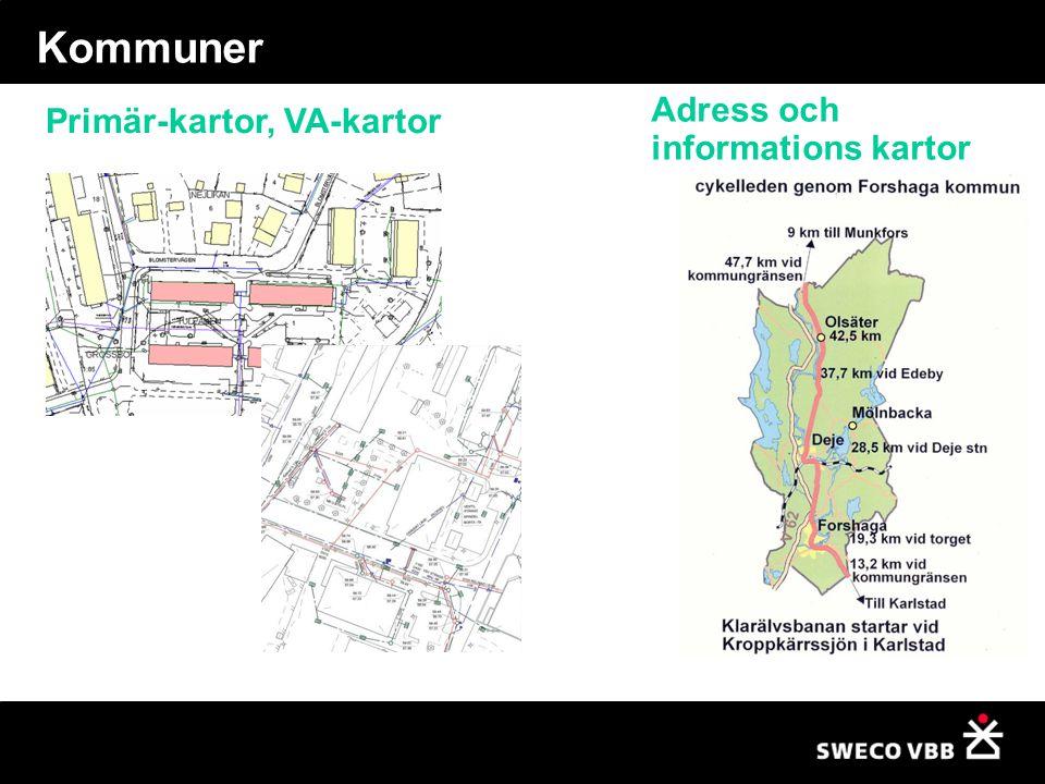 Kommuner Adress och informations kartor Primär-kartor, VA-kartor