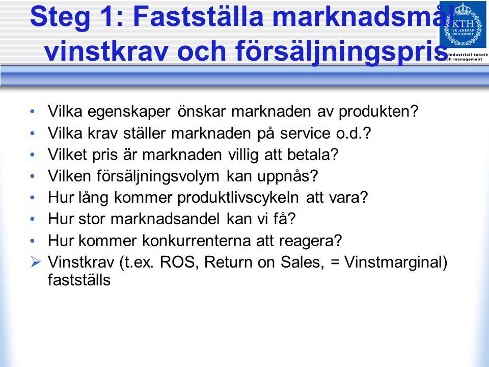 Steg 1: Fastställa marknadsmål, vinstkrav och försäljningspris Vilka egenskaper önskar marknaden av produkten? Vilka krav ställer marknaden på service