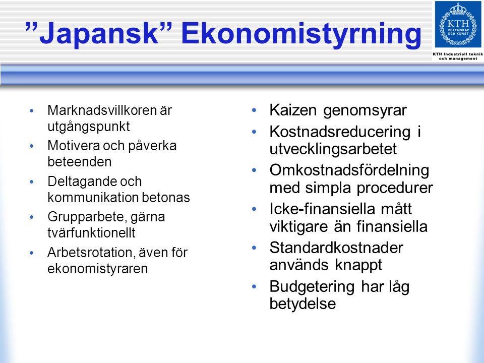 Japansk Ekonomistyrning Marknadsvillkoren är utgångspunkt Motivera och påverka beteenden Deltagande och kommunikation betonas Grupparbete, gärna tvärfunktionellt Arbetsrotation, även för ekonomistyraren Kaizen genomsyrar Kostnadsreducering i utvecklingsarbetet Omkostnadsfördelning med simpla procedurer Icke-finansiella mått viktigare än finansiella Standardkostnader används knappt Budgetering har låg betydelse