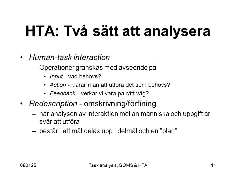 080125Task analysis, GOMS & HTA11 HTA: Två sätt att analysera Human-task interaction –Operationer granskas med avseende på Input - vad behövs.