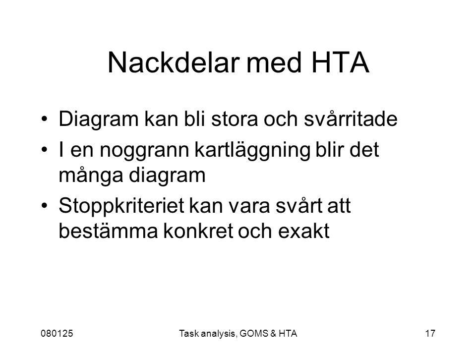 080125Task analysis, GOMS & HTA17 Nackdelar med HTA Diagram kan bli stora och svårritade I en noggrann kartläggning blir det många diagram Stoppkriteriet kan vara svårt att bestämma konkret och exakt