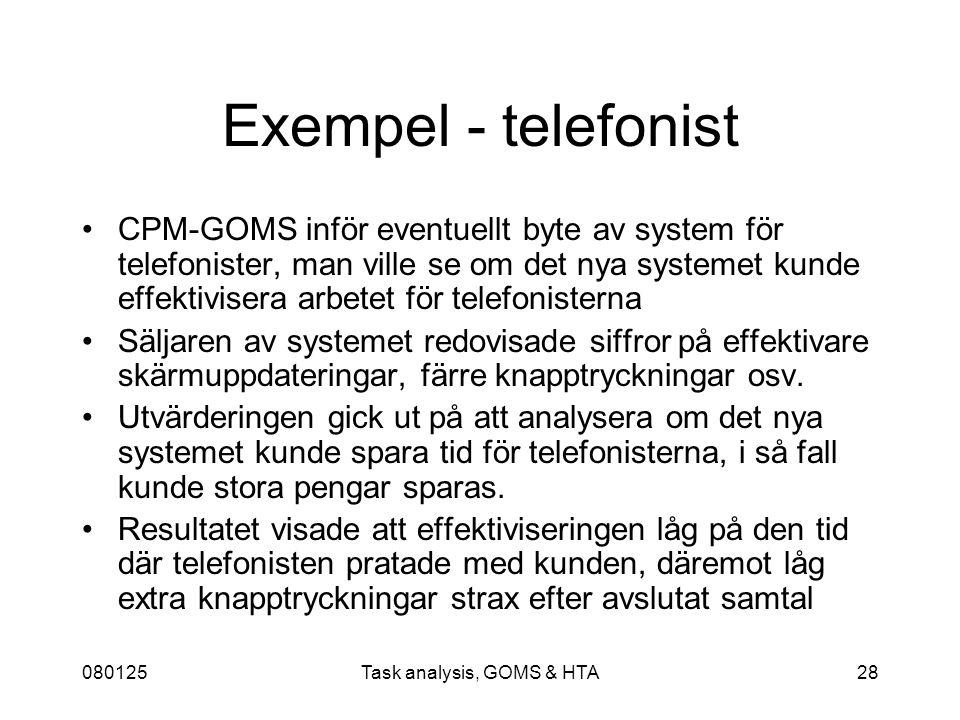 080125Task analysis, GOMS & HTA28 Exempel - telefonist CPM-GOMS inför eventuellt byte av system för telefonister, man ville se om det nya systemet kunde effektivisera arbetet för telefonisterna Säljaren av systemet redovisade siffror på effektivare skärmuppdateringar, färre knapptryckningar osv.