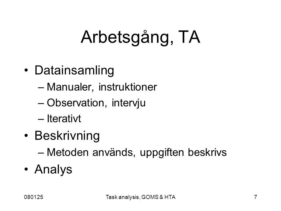 080125Task analysis, GOMS & HTA18 1.Identifiera nästa mål som ska undersökas 5.