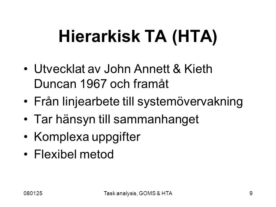 080125Task analysis, GOMS & HTA9 Hierarkisk TA (HTA) Utvecklat av John Annett & Kieth Duncan 1967 och framåt Från linjearbete till systemövervakning Tar hänsyn till sammanhanget Komplexa uppgifter Flexibel metod