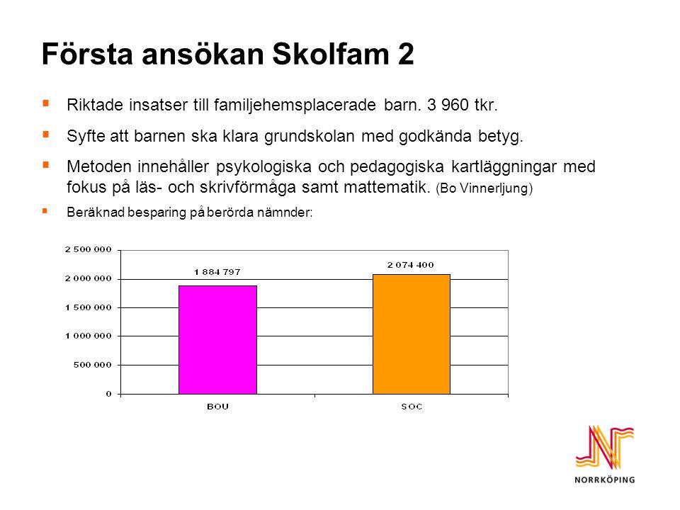 Första ansökan Skolfam 2  Riktade insatser till familjehemsplacerade barn.