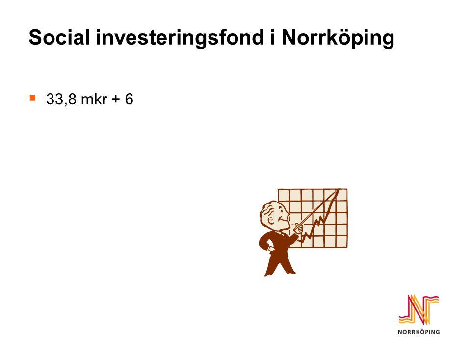 Social investeringsfond i Norrköping  33,8 mkr + 6