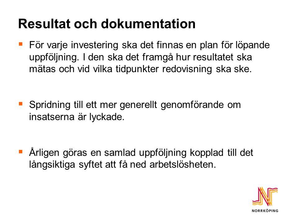 Resultat och dokumentation  För varje investering ska det finnas en plan för löpande uppföljning.