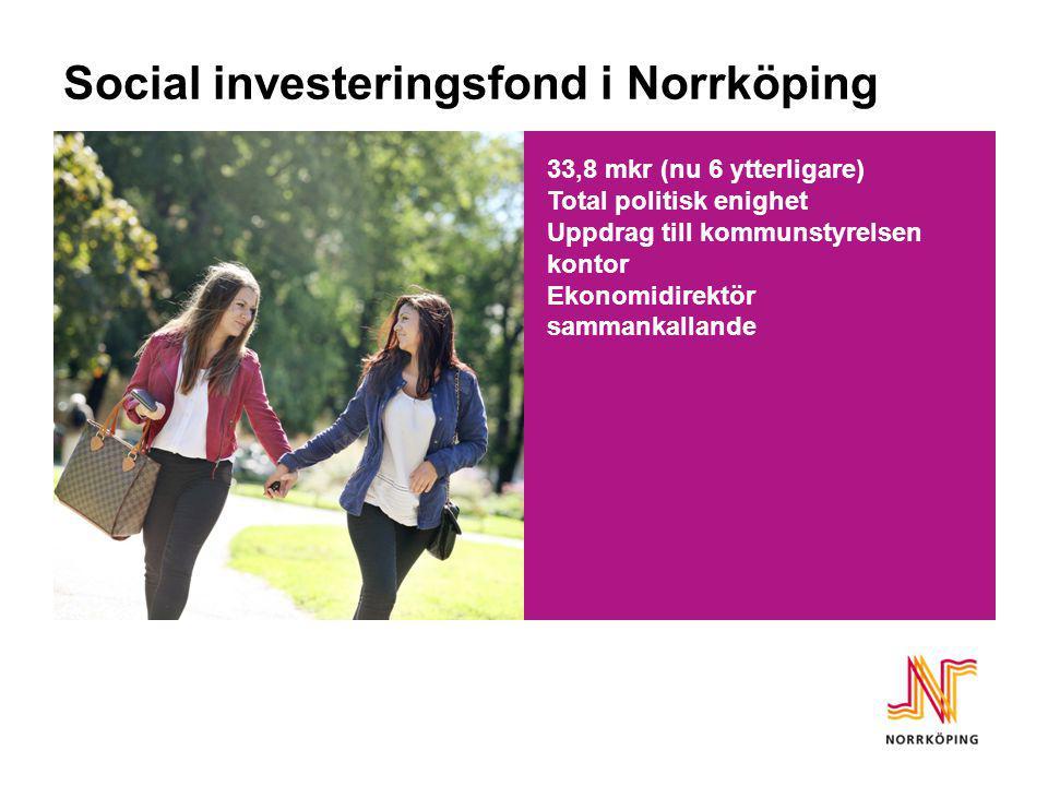 Social investeringsfond i Norrköping 33,8 mkr (nu 6 ytterligare) Total politisk enighet Uppdrag till kommunstyrelsen kontor Ekonomidirektör sammankall