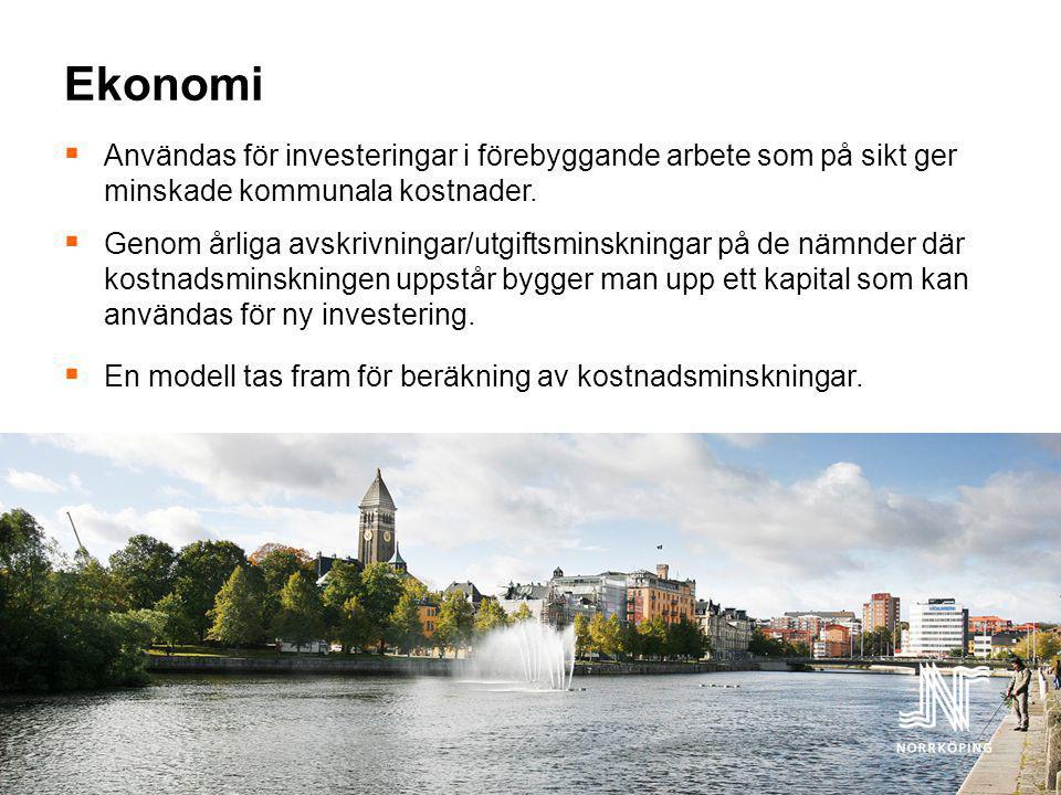 Ekonomi  Användas för investeringar i förebyggande arbete som på sikt ger minskade kommunala kostnader.  Genom årliga avskrivningar/utgiftsminskning