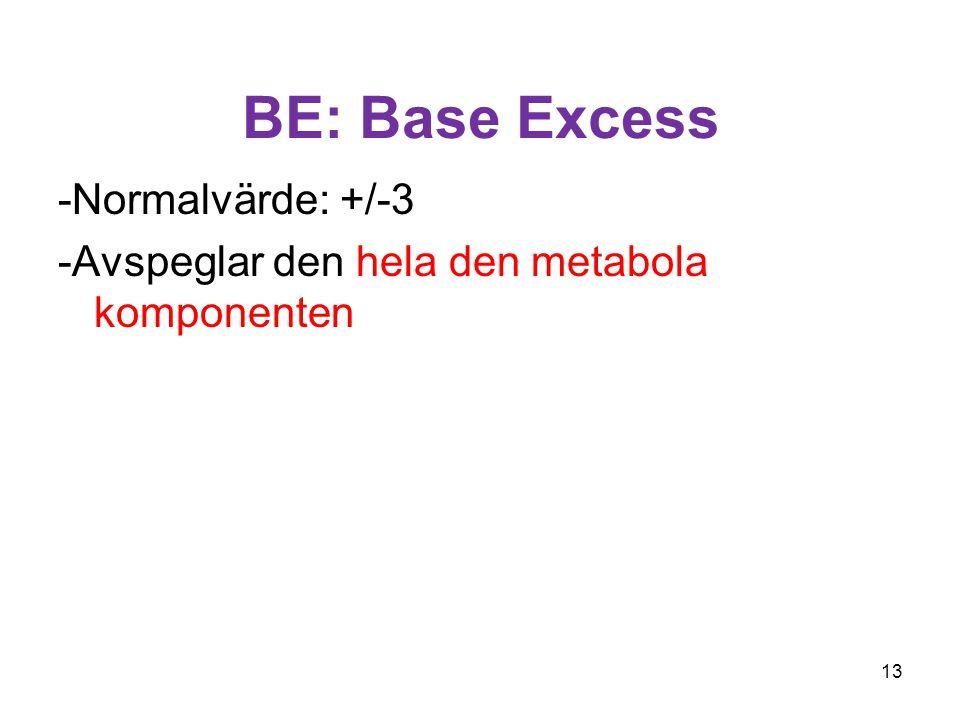 BE: Base Excess -Normalvärde: +/-3 -Avspeglar den hela den metabola komponenten 13