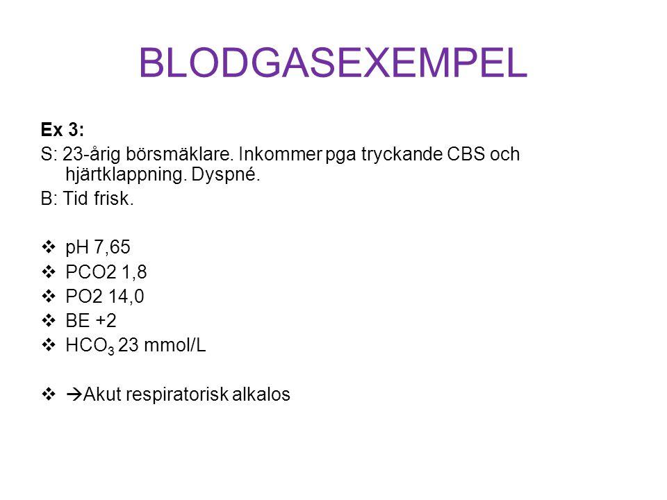 BLODGASEXEMPEL Ex 3: S: 23-årig börsmäklare. Inkommer pga tryckande CBS och hjärtklappning. Dyspné. B: Tid frisk.  pH 7,65  PCO2 1,8  PO2 14,0  BE