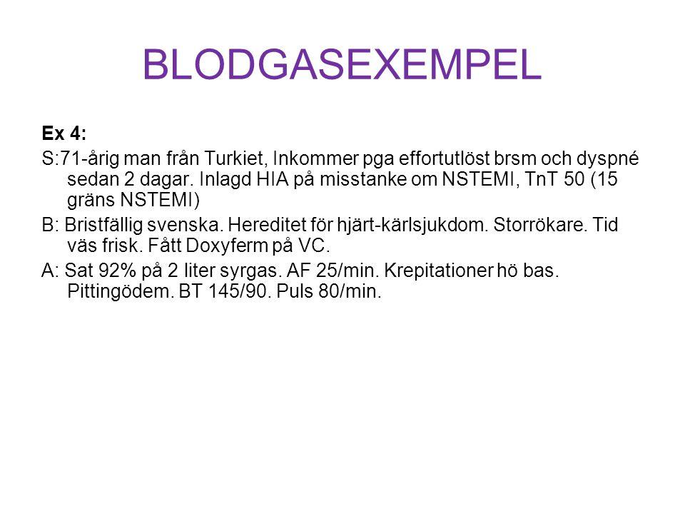 BLODGASEXEMPEL Ex 4: S:71-årig man från Turkiet, Inkommer pga effortutlöst brsm och dyspné sedan 2 dagar. Inlagd HIA på misstanke om NSTEMI, TnT 50 (1