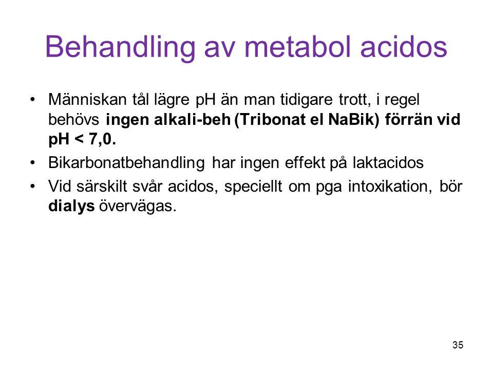 Behandling av metabol acidos Människan tål lägre pH än man tidigare trott, i regel behövs ingen alkali-beh (Tribonat el NaBik) förrän vid pH < 7,0. Bi