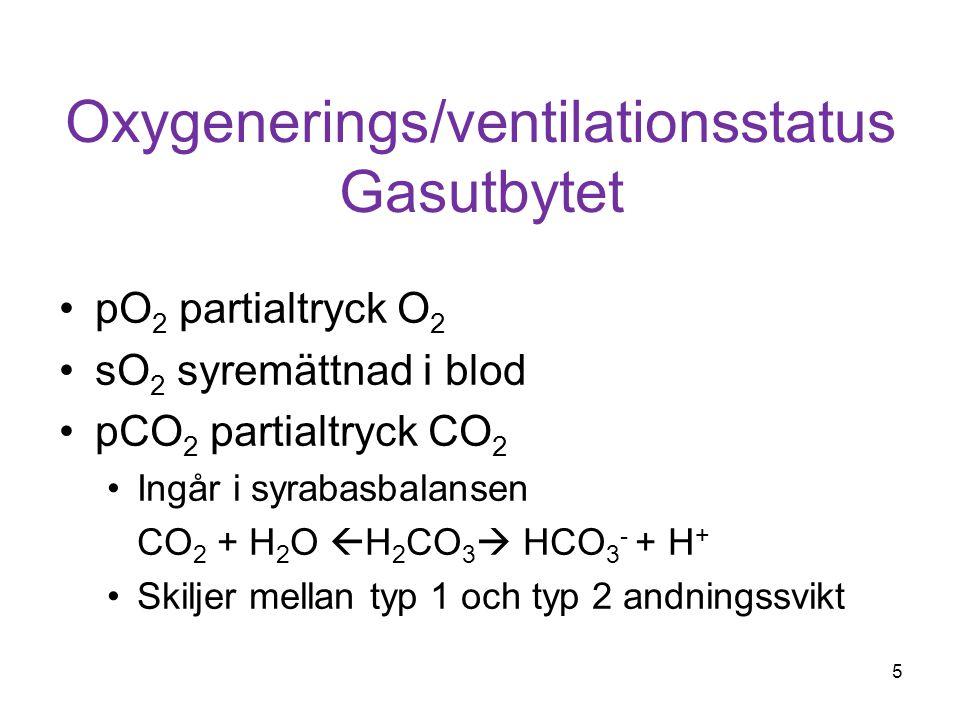 Oxygenerings/ventilationsstatus Gasutbytet pO 2 partialtryck O 2 sO 2 syremättnad i blod pCO 2 partialtryck CO 2 Ingår i syrabasbalansen CO 2 + H 2 O