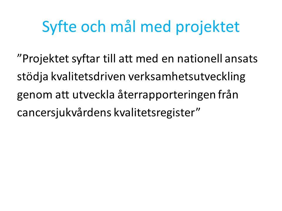 Syfte och mål med projektet Projektet syftar till att med en nationell ansats stödja kvalitetsdriven verksamhetsutveckling genom att utveckla återrapporteringen från cancersjukvårdens kvalitetsregister