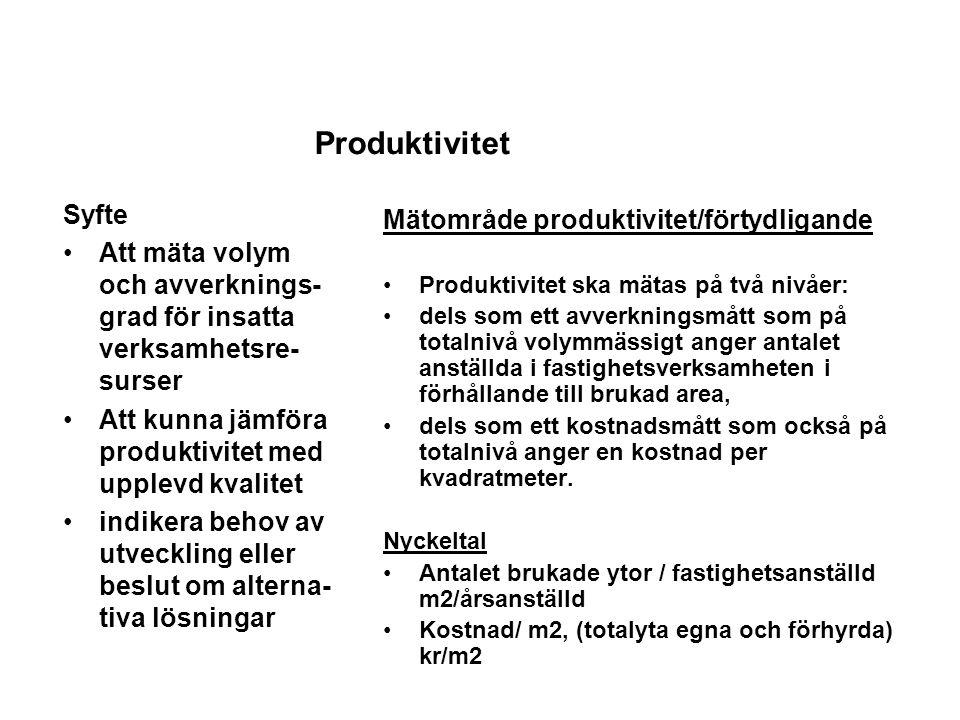 Mätområde produktivitet/förtydligande Produktivitet ska mätas på två nivåer: dels som ett avverkningsmått som på totalnivå volymmässigt anger antalet anställda i fastighetsverksamheten i förhållande till brukad area, dels som ett kostnadsmått som också på totalnivå anger en kostnad per kvadratmeter.