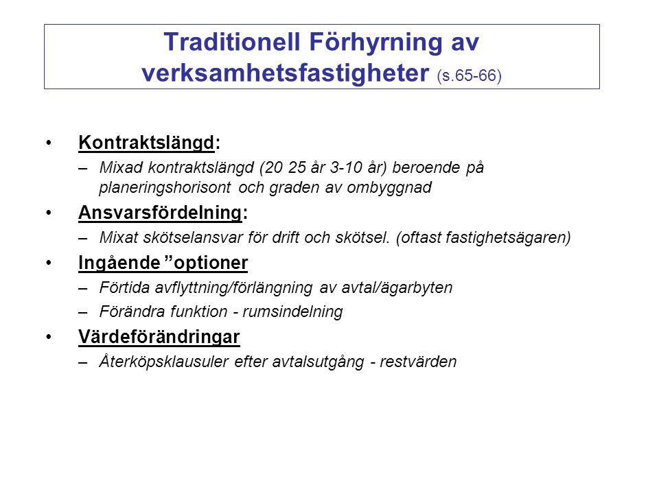 Traditionell Förhyrning av verksamhetsfastigheter (s.65-66) Kontraktslängd: –Mixad kontraktslängd (20 25 år 3-10 år) beroende på planeringshorisont oc