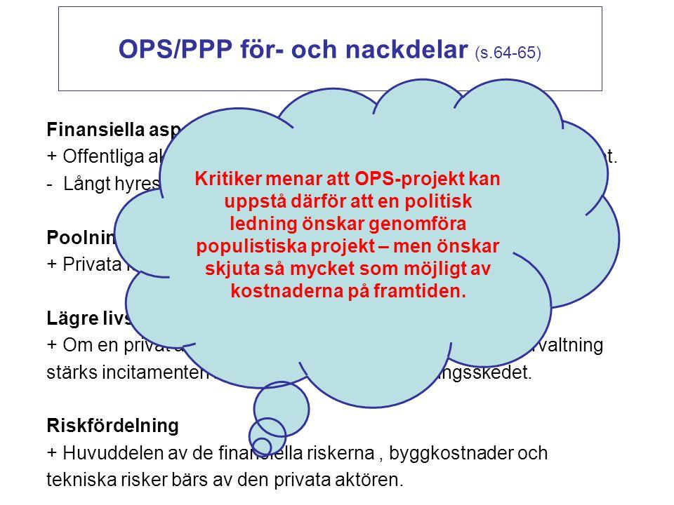 OPS/PPP för- och nackdelar (s.64-65) Finansiella aspekter + Offentliga aktören behöver inte investera egna pengar i byggandet. - Långt hyreskontrakt b