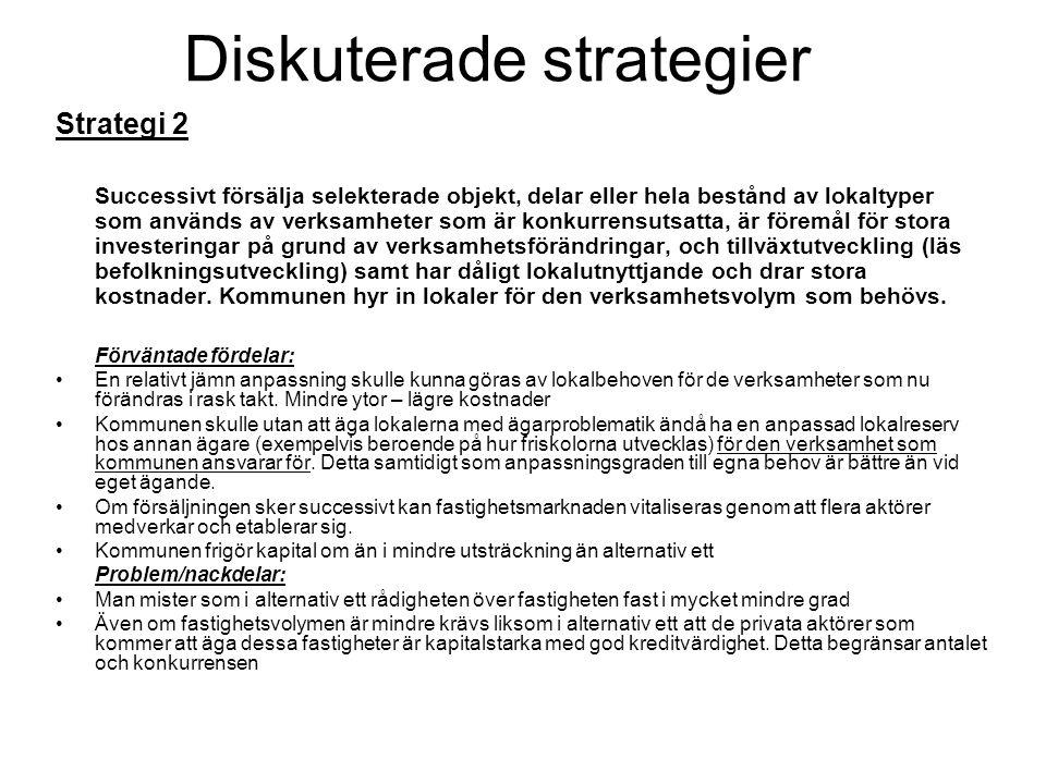 Diskuterade strategier Strategi 2 Successivt försälja selekterade objekt, delar eller hela bestånd av lokaltyper som används av verksamheter som är ko