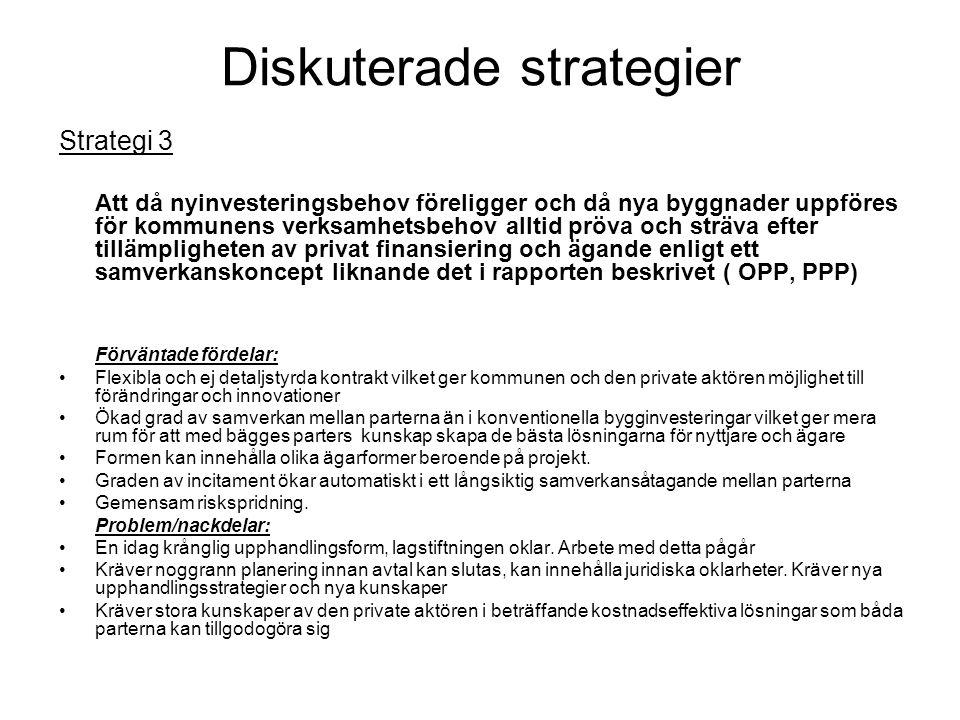 Diskuterade strategier Strategi 3 Att då nyinvesteringsbehov föreligger och då nya byggnader uppföres för kommunens verksamhetsbehov alltid pröva och