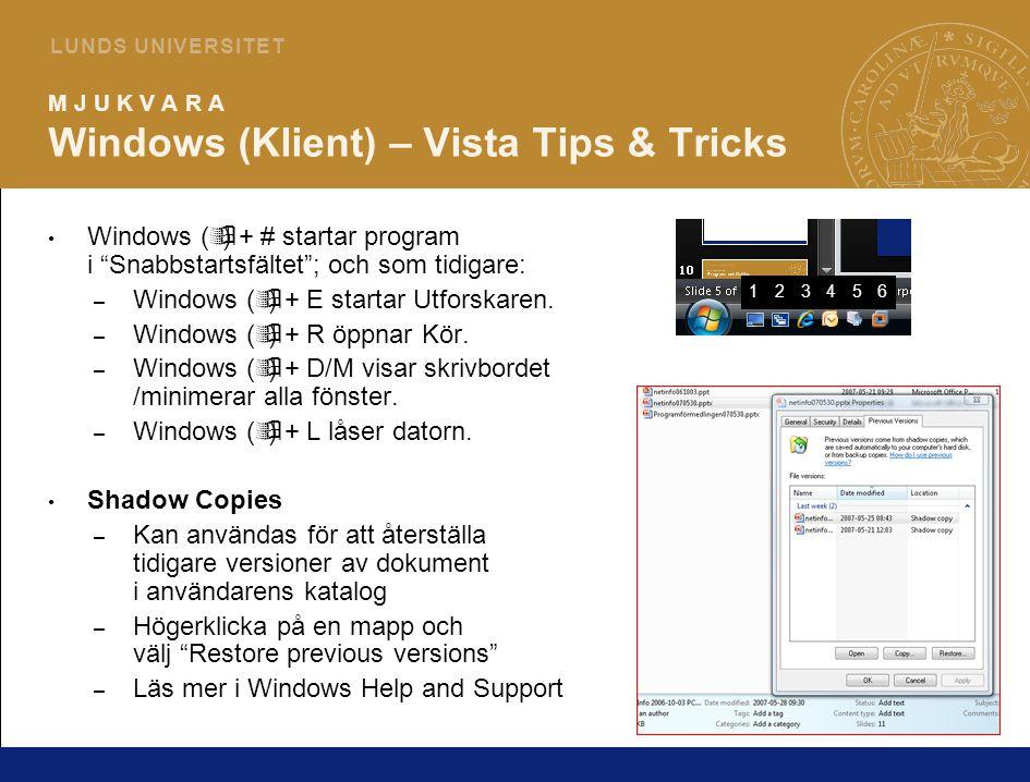 5 L U N D S U N I V E R S I T E T M J U K V A R A Windows (Klient) – Vista Tips & Tricks Göm Favorite Links – Klicka på linjen markerad med gul cirkel och dra uppåt för att få tillbaka det traditionella utforskarutseendet.