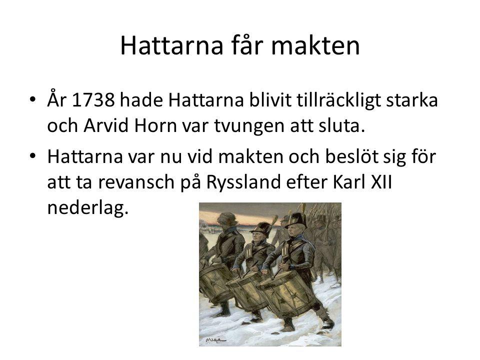 Hattarna får makten År 1738 hade Hattarna blivit tillräckligt starka och Arvid Horn var tvungen att sluta. Hattarna var nu vid makten och beslöt sig f