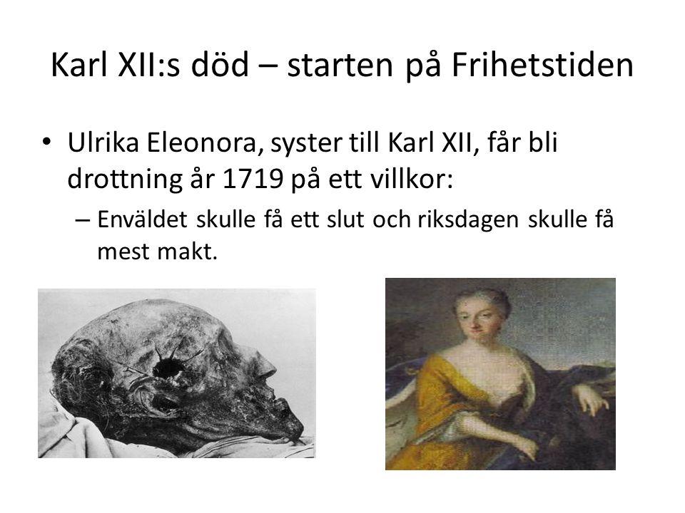 Karl XII:s död – starten på Frihetstiden Ulrika Eleonora, syster till Karl XII, får bli drottning år 1719 på ett villkor: – Enväldet skulle få ett slu