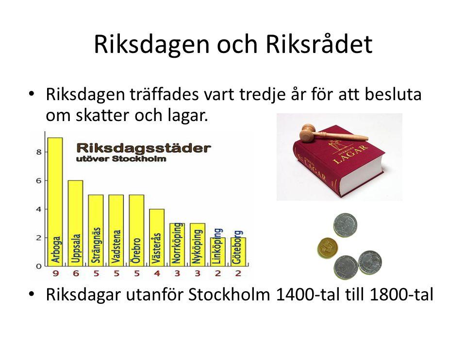 Riksdagen och Riksrådet Riksdagen träffades vart tredje år för att besluta om skatter och lagar. Riksdagar utanför Stockholm 1400-tal till 1800-tal