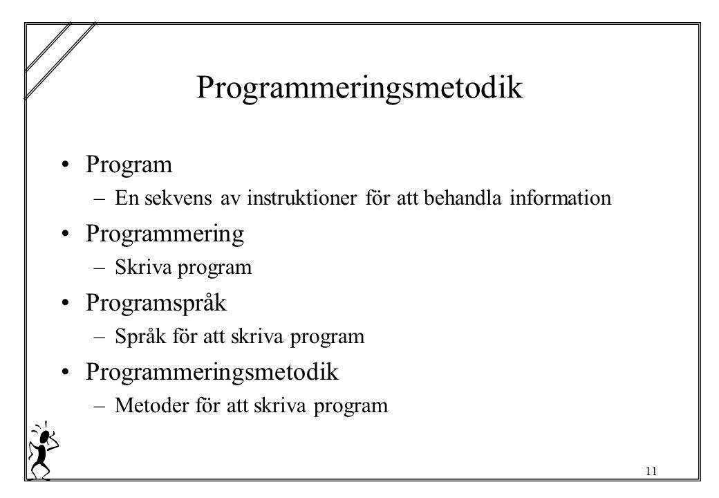 11 Programmeringsmetodik Program –En sekvens av instruktioner för att behandla information Programmering –Skriva program Programspråk –Språk för att skriva program Programmeringsmetodik –Metoder för att skriva program