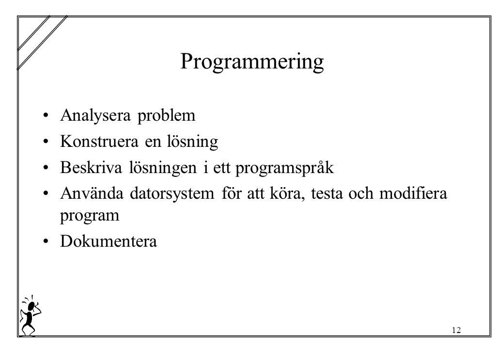12 Programmering Analysera problem Konstruera en lösning Beskriva lösningen i ett programspråk Använda datorsystem för att köra, testa och modifiera program Dokumentera