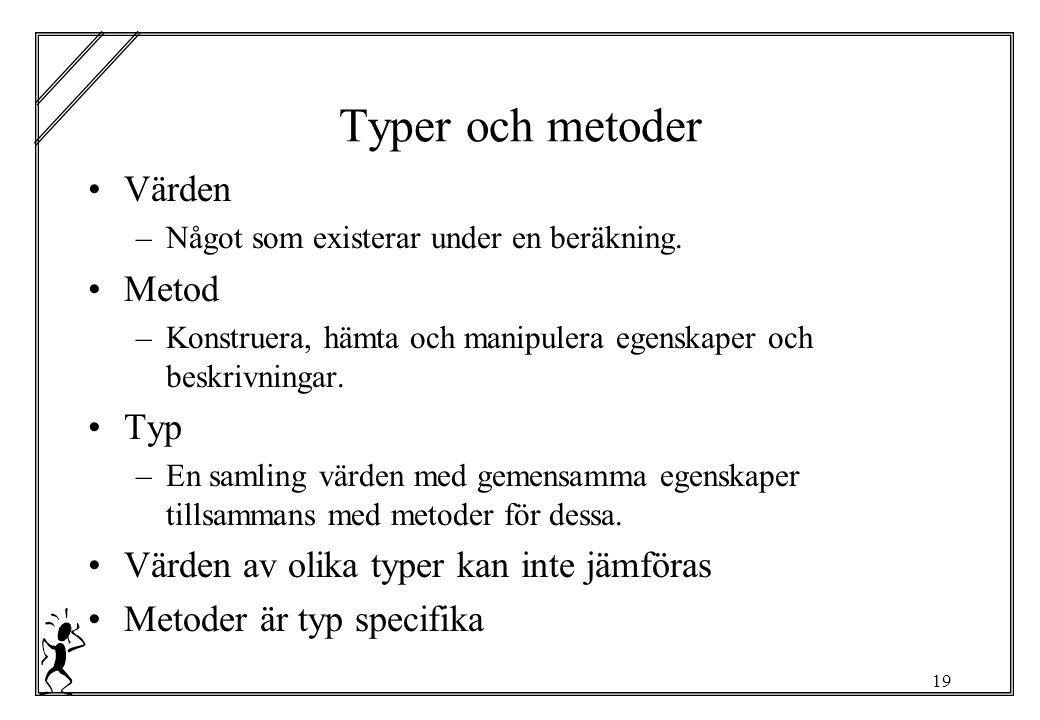 19 Typer och metoder Värden –Något som existerar under en beräkning.