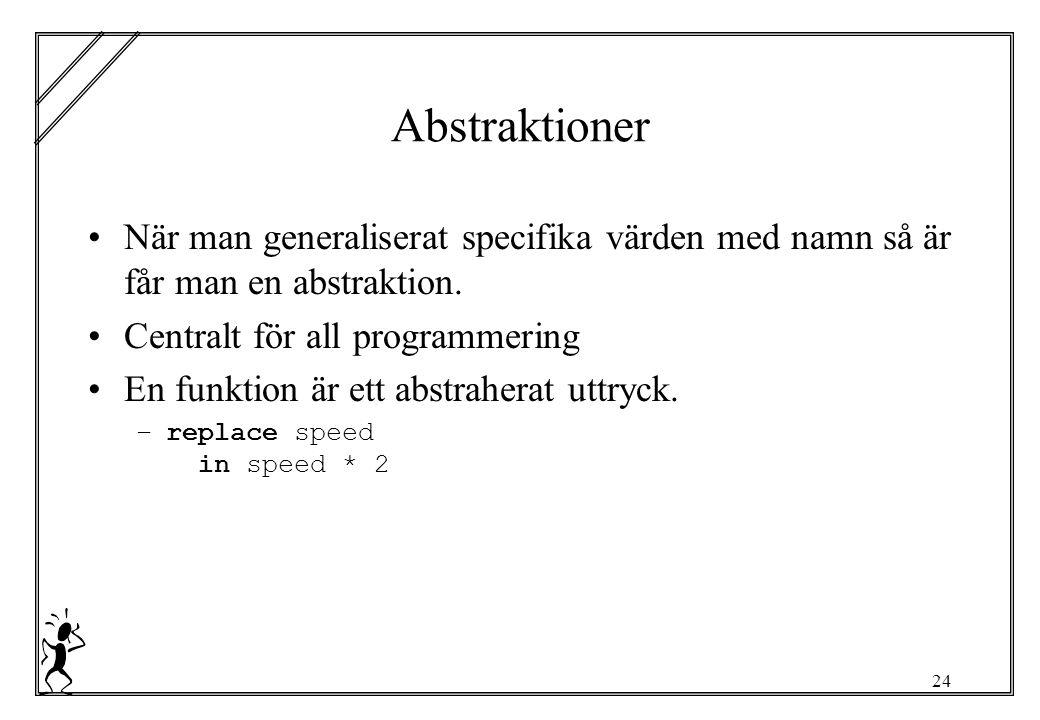 24 Abstraktioner När man generaliserat specifika värden med namn så är får man en abstraktion.