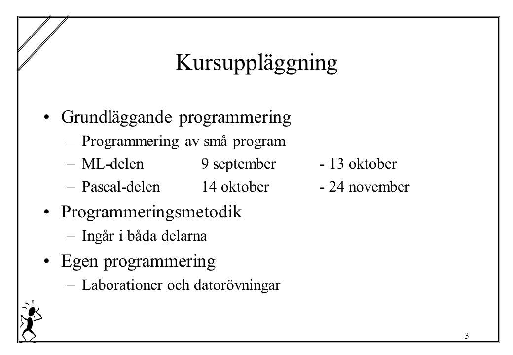 3 Kursuppläggning Grundläggande programmering –Programmering av små program –ML-delen9 september - 13 oktober –Pascal-delen14 oktober - 24 november Programmeringsmetodik –Ingår i båda delarna Egen programmering –Laborationer och datorövningar