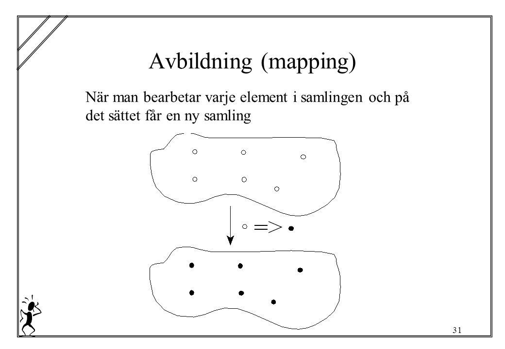 31 Avbildning (mapping) När man bearbetar varje element i samlingen och på det sättet får en ny samling