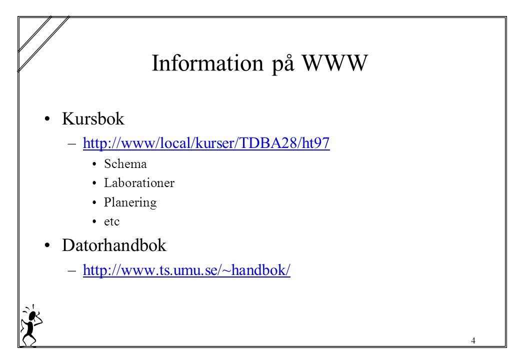 4 Information på WWW Kursbok –http://www/local/kurser/TDBA28/ht97http://www/local/kurser/TDBA28/ht97 Schema Laborationer Planering etc Datorhandbok –http://www.ts.umu.se/~handbok/http://www.ts.umu.se/~handbok/
