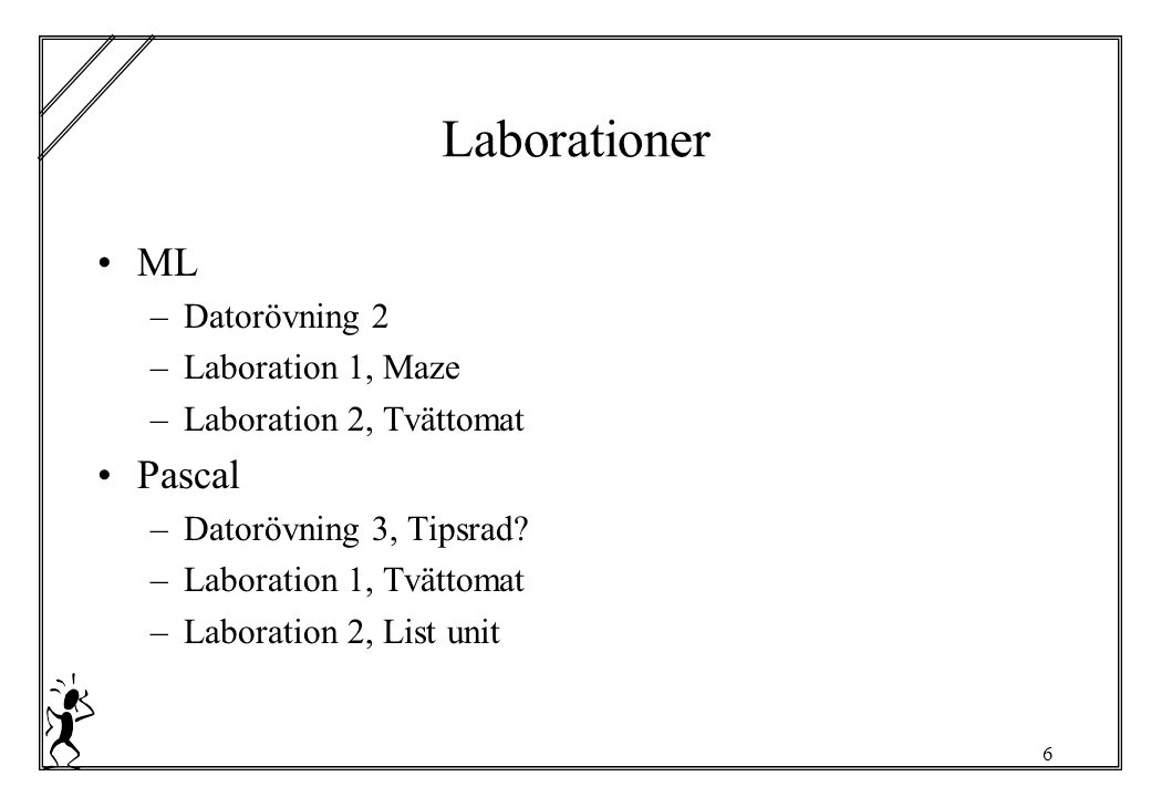 6 Laborationer ML –Datorövning 2 –Laboration 1, Maze –Laboration 2, Tvättomat Pascal –Datorövning 3, Tipsrad? –Laboration 1, Tvättomat –Laboration 2,