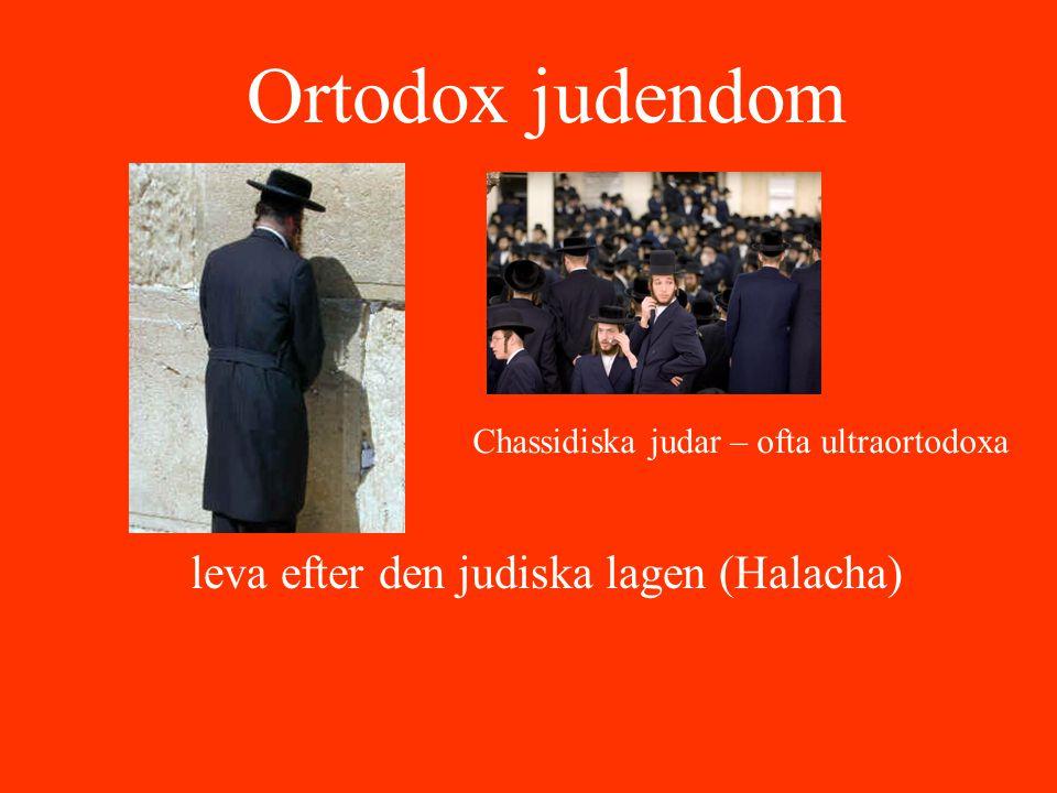 Ortodox judendom leva efter den judiska lagen (Halacha) Chassidiska judar – ofta ultraortodoxa