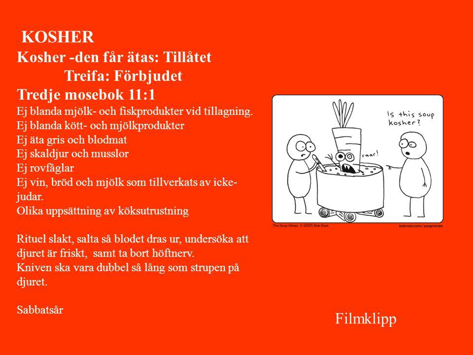 KOSHER Kosher -den får ätas: Tillåtet Treifa: Förbjudet Tredje mosebok 11:1 Ej blanda mjölk- och fiskprodukter vid tillagning. Ej blanda kött- och mjö