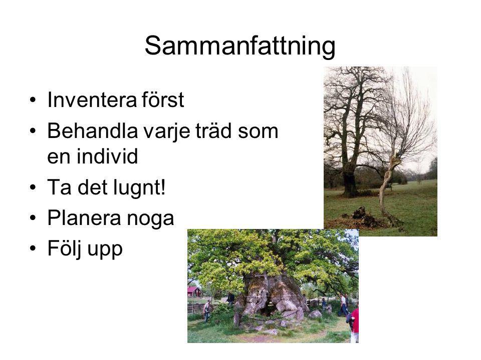 Sammanfattning Inventera först Behandla varje träd som en individ Ta det lugnt.