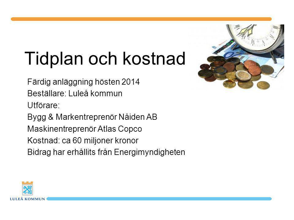 Tidplan och kostnad Färdig anläggning hösten 2014 Beställare: Luleå kommun Utförare: Bygg & Markentreprenör Nåiden AB Maskinentreprenör Atlas Copco Kostnad: ca 60 miljoner kronor Bidrag har erhållits från Energimyndigheten