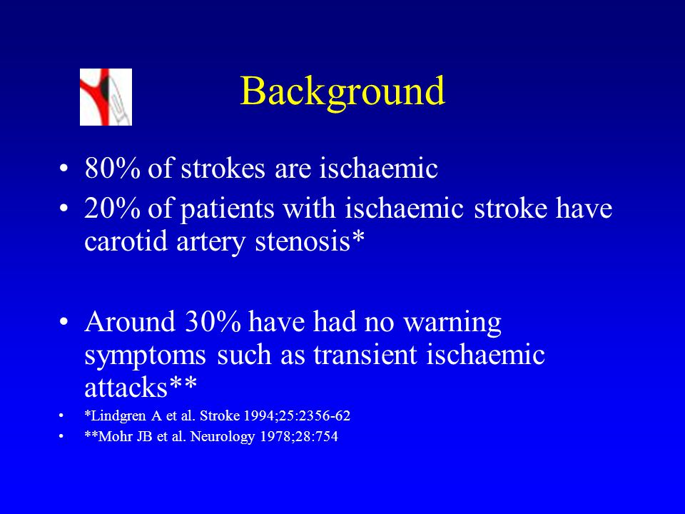 Background 80% of strokes are ischaemic 20% of patients with ischaemic stroke have carotid artery stenosis* Around 30% have had no warning symptoms such as transient ischaemic attacks** *Lindgren A et al.