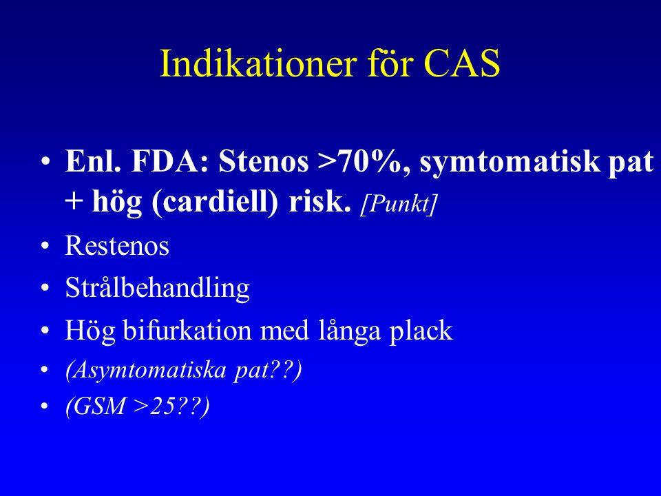 Indikationer för CAS Enl. FDA: Stenos >70%, symtomatisk pat + hög (cardiell) risk. [Punkt] Restenos Strålbehandling Hög bifurkation med långa plack (A