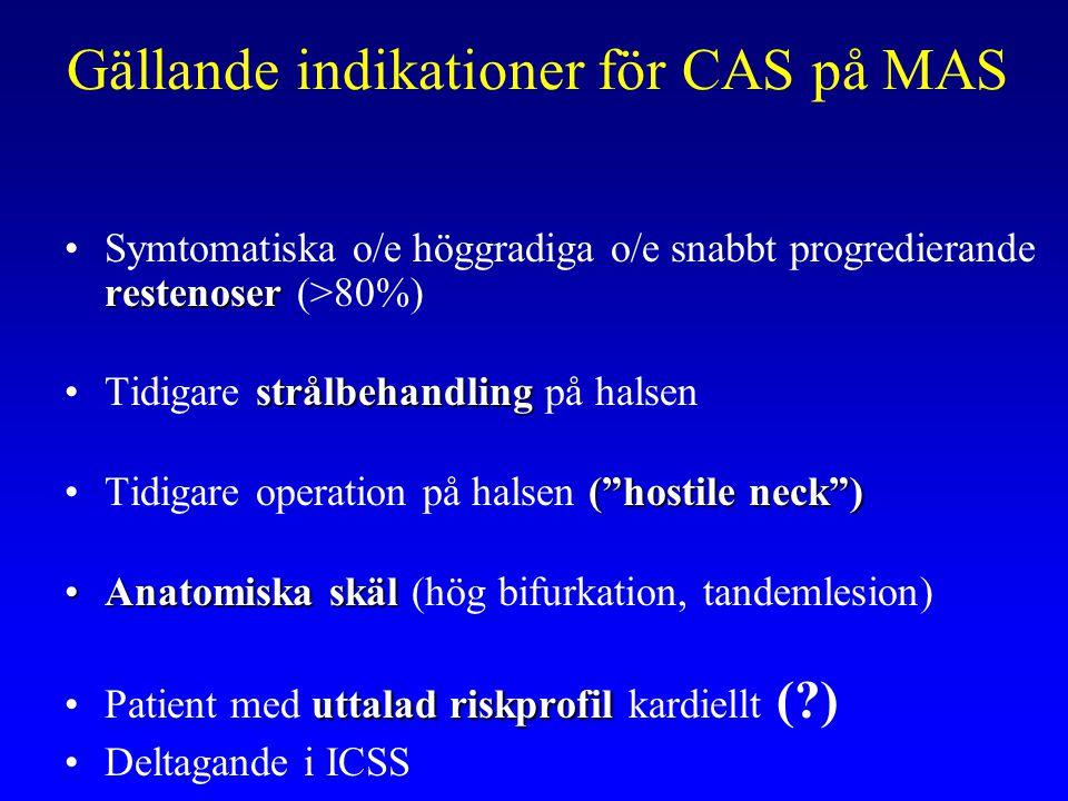 Gällande indikationer för CAS på MAS restenoserSymtomatiska o/e höggradiga o/e snabbt progredierande restenoser (>80%) strålbehandlingTidigare strålbe