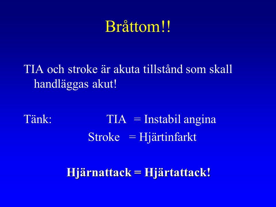 Bråttom!! TIA och stroke är akuta tillstånd som skall handläggas akut! Tänk: TIA = Instabil angina Stroke = Hjärtinfarkt Hjärnattack = Hjärtattack!