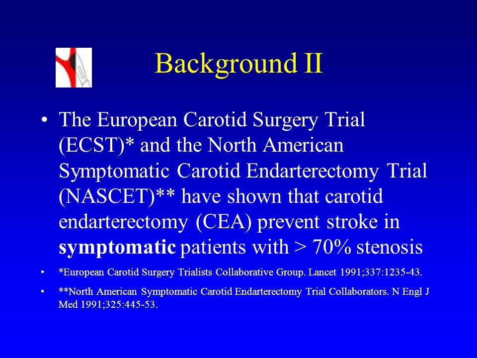 ACAS och ACST-resultat ACAS : N=1659; 4657 patientår, 2,7 år; ARR 5,9% (RRR 54%); NNT=17 ACST : N=3120; 5 år; ARR 5,4% (RRR 46%); NNT=18 Alltså samma riskreduktion som vid 50-70% symtomatisk stenos…