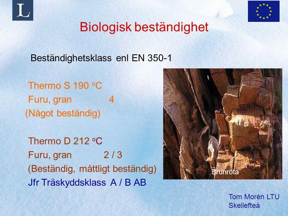 Tom Morén LTU Skellefteå Biologisk beständighet Beständighetsklass enl EN 350-1 Thermo S 190 o C Furu, gran 4 (Något beständig) Thermo D 212 o C Furu,