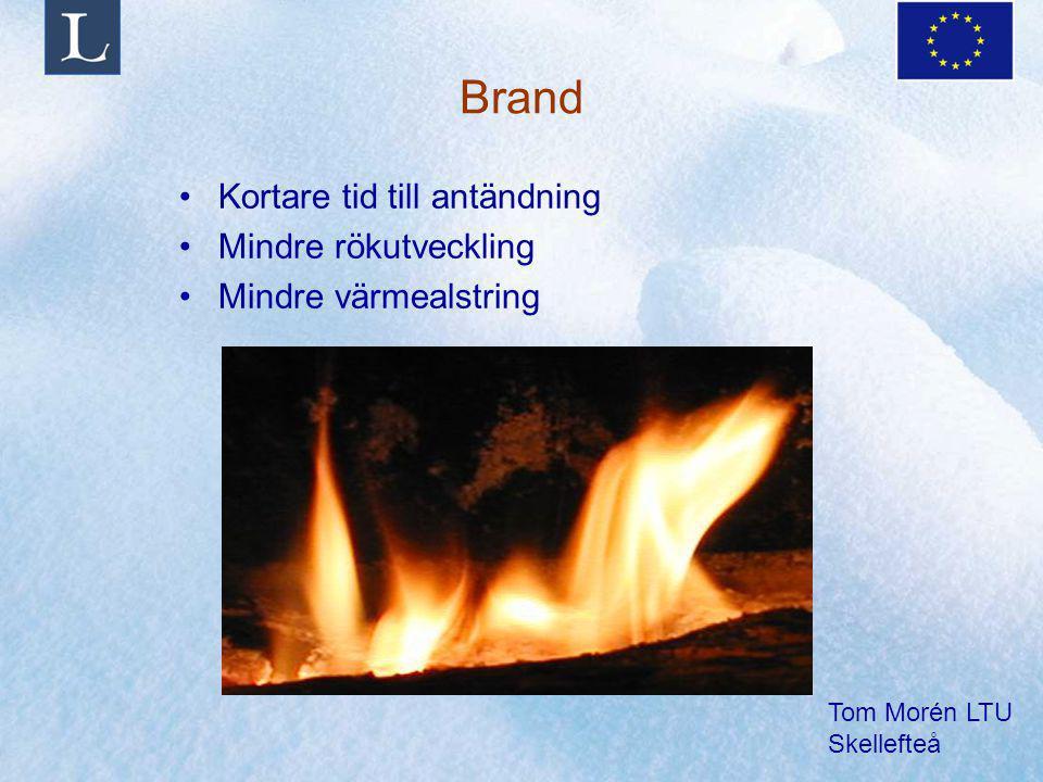 Tom Morén LTU Skellefteå Brand Kortare tid till antändning Mindre rökutveckling Mindre värmealstring